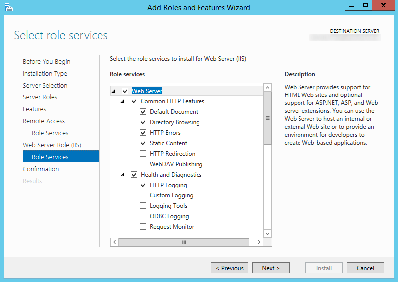 Add Roles and Features Wizard - Web Server Roll IIS - Roll Services