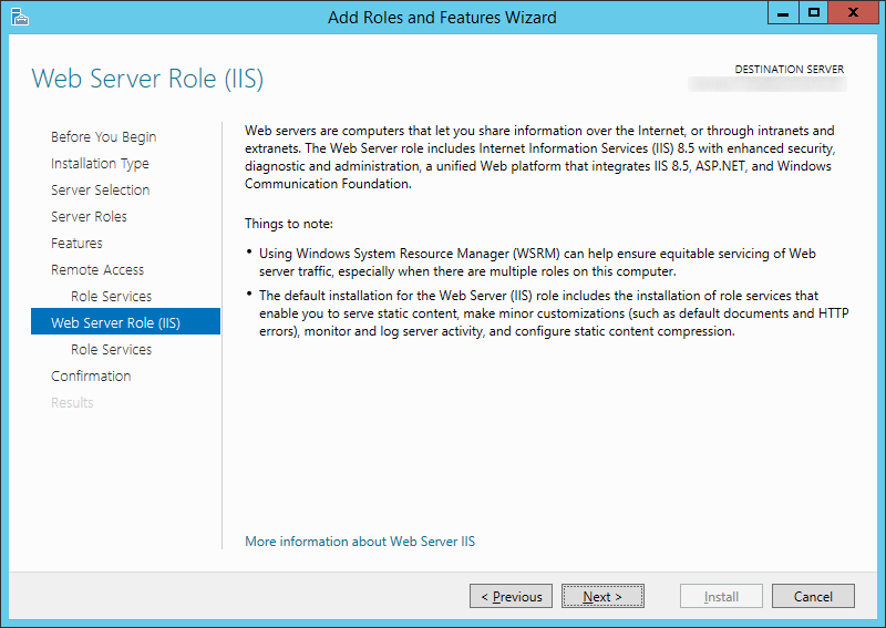 Add Roles and Features Wizard - Web Server Roll IIS