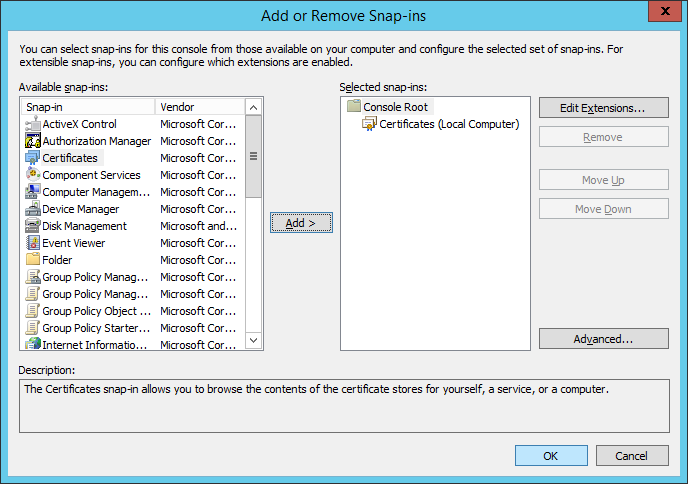 Add or Remove Snap-ins - Certificates - Local Computer