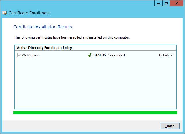 Certificate Enrollment - Certificate Installation Results