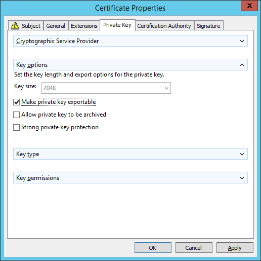 Certificate Enrollment - Certificate Properties - Private Key Tab