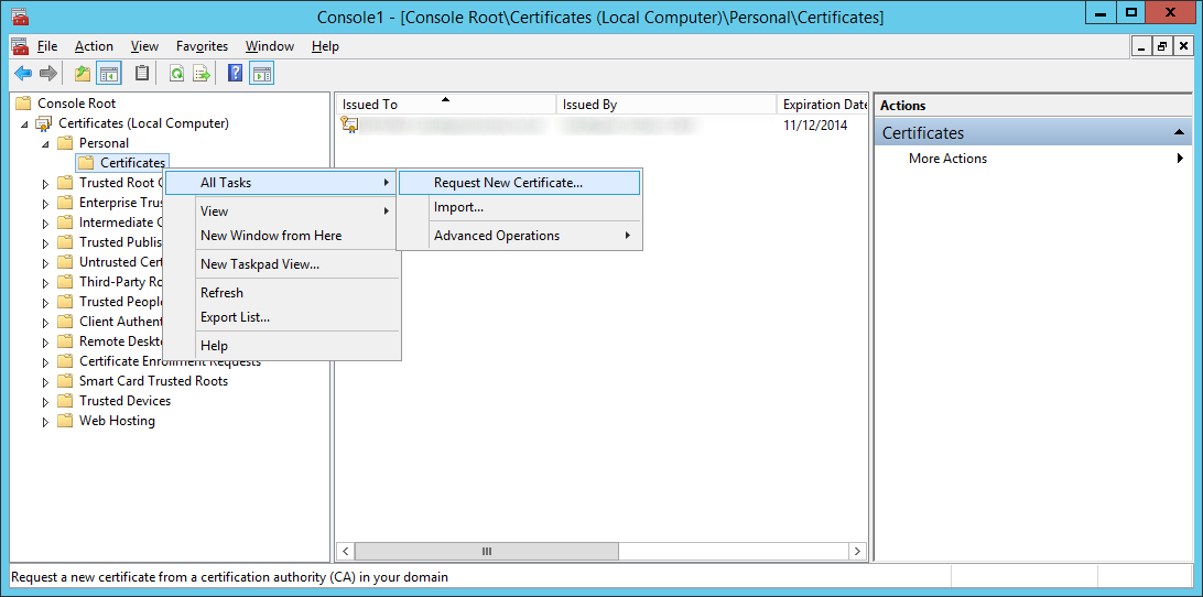 Certificates - All Tasks - Request new certificate