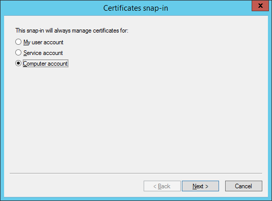 Certificates snap-in - Computer Account