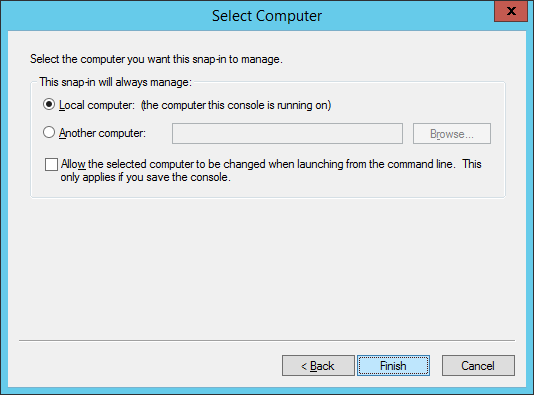Certificates snap-in - Select Computer