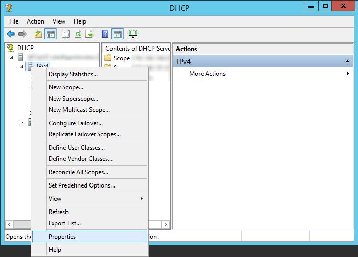 DHCP - IPv4 - Properties