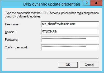 DNS dynamic update credentials