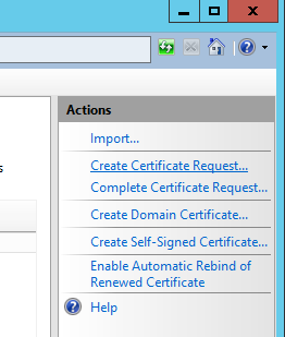 Internet Information Services (IIS) Manager - Server Certificates - Create Certificate Request