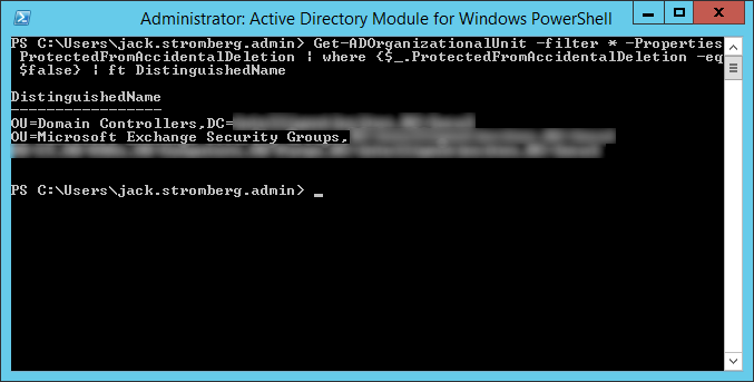 List unprotected OUs from Accidental Deletion PowerShell