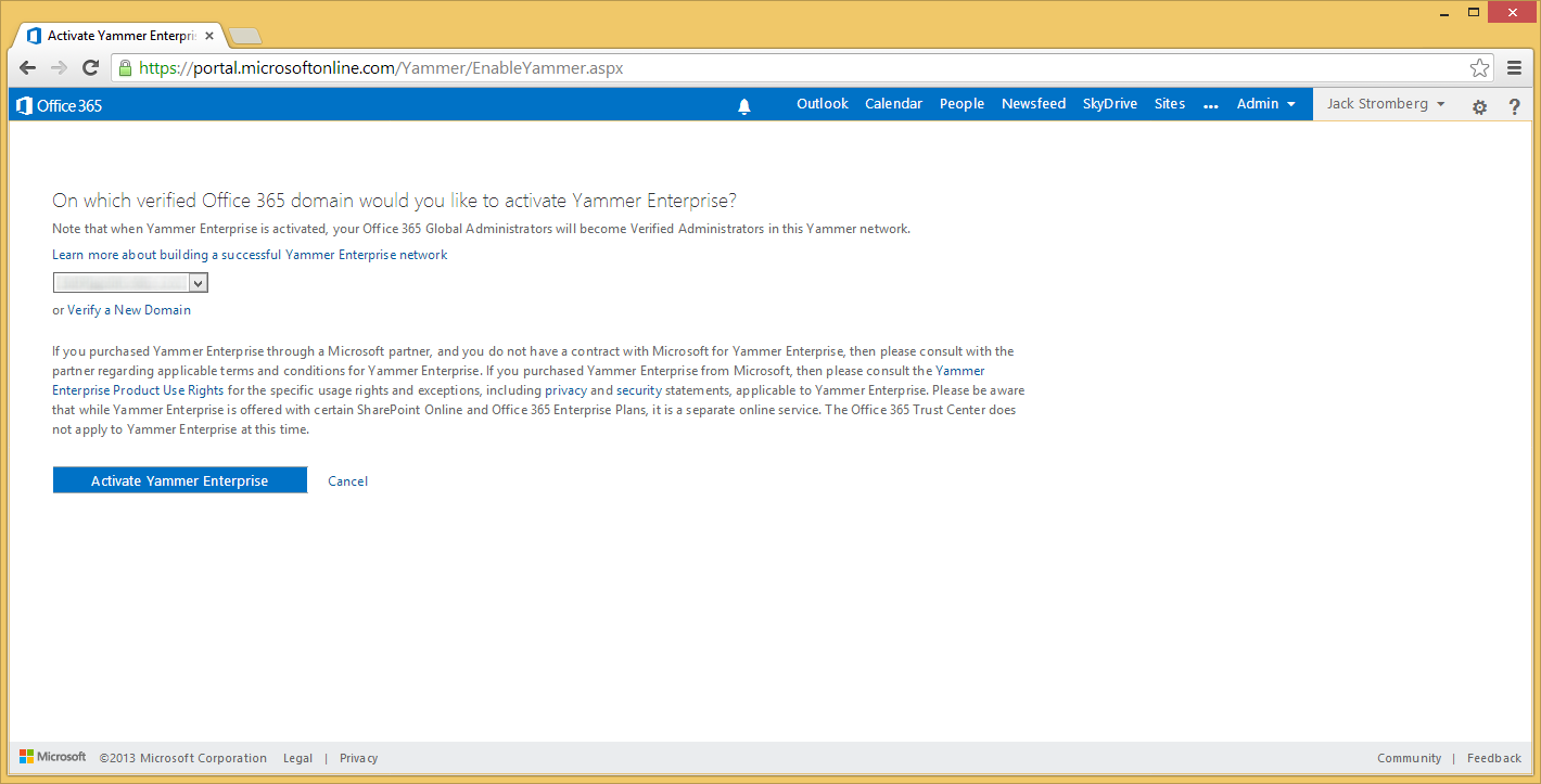 Office 365 - Activate Yammer Enterprise