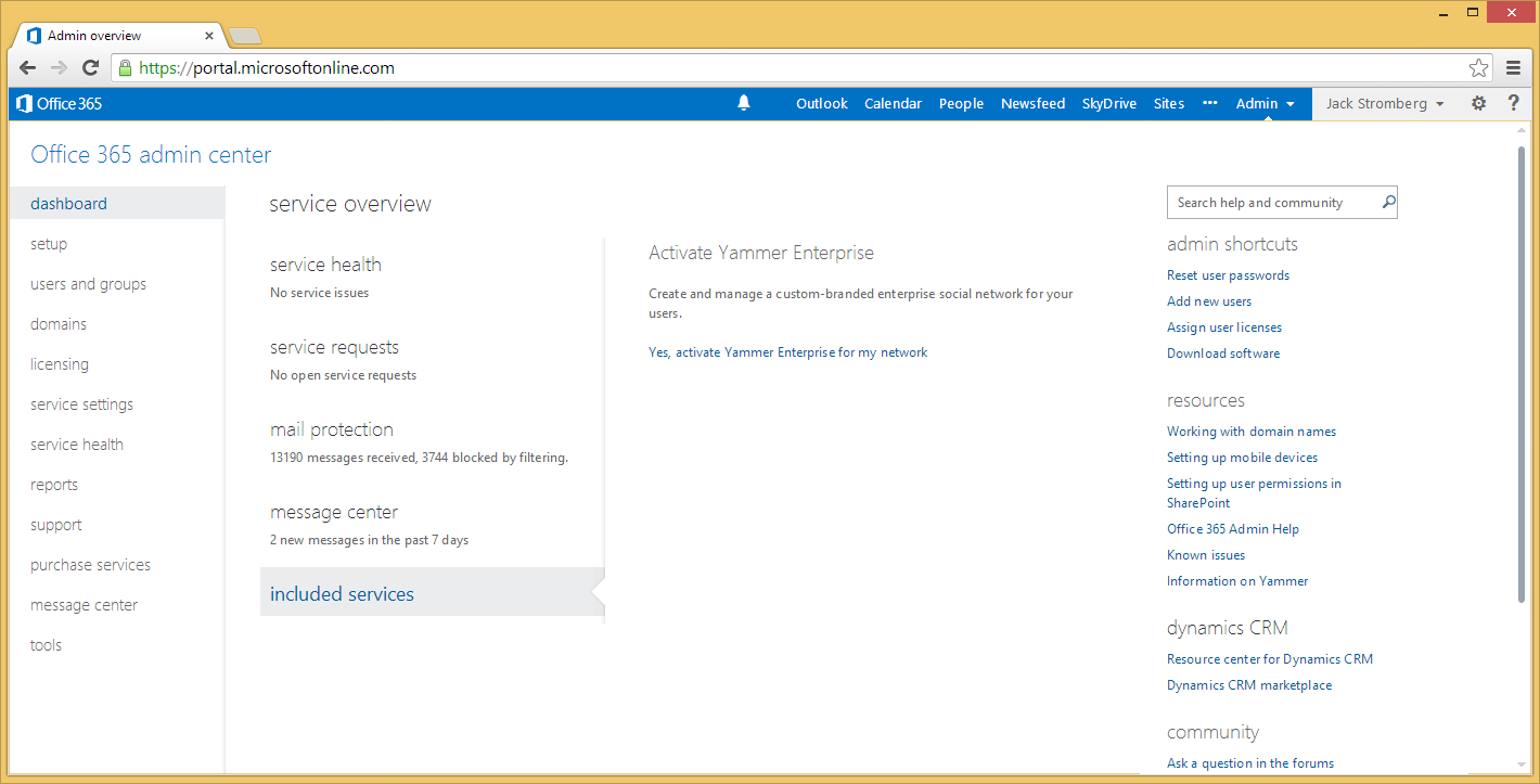 Office 365 Portal - Included Services