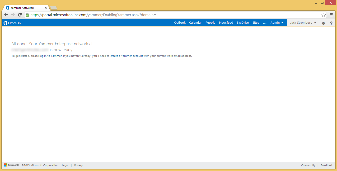 Office 365 - Yammer Enterprise is now ready