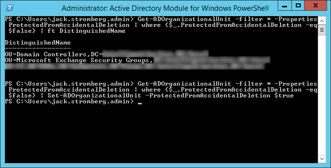 Protect OUs from Accidental Deletion PowerShell