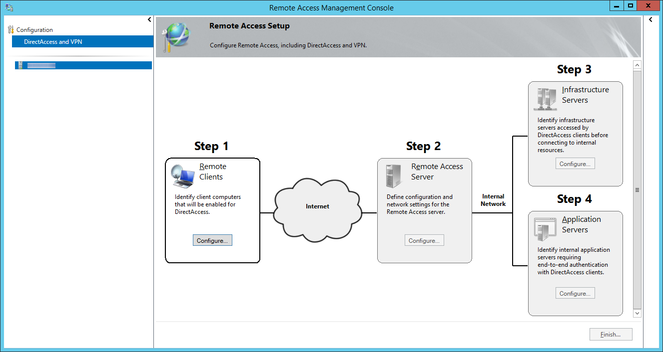 Remote Access Management Console - DirectAccess and VPN - Step 1 Remote Clients