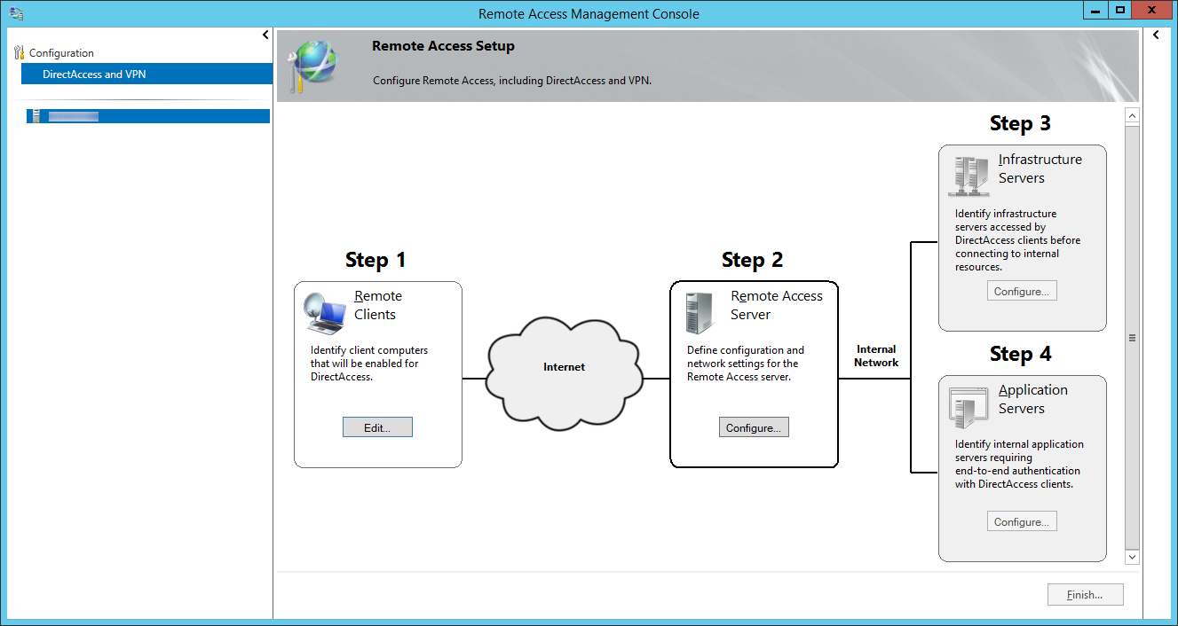 Remote Access Management Console - DirectAccess and VPN - Step 2 Remote Access Server