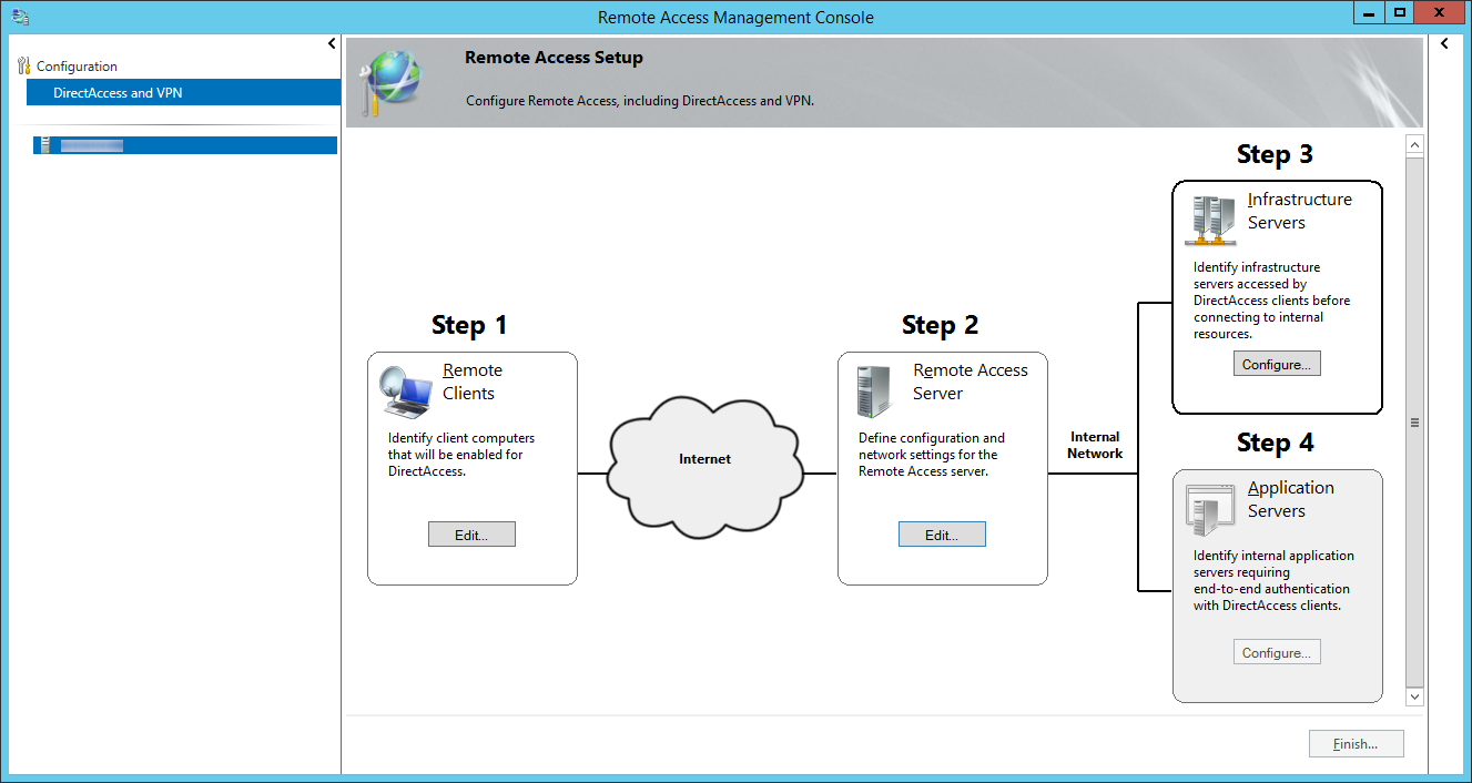 Remote Access Management Console - DirectAccess and VPN - Step 3 Infrastructure Servers