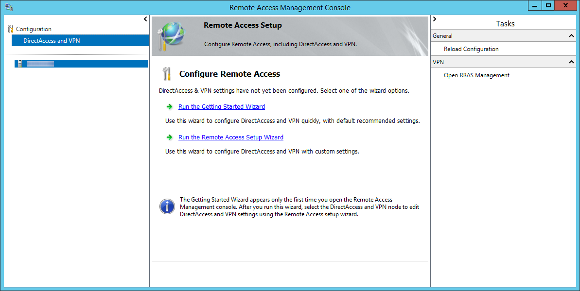 Remote Access Management Console - DirectAccess and VPN