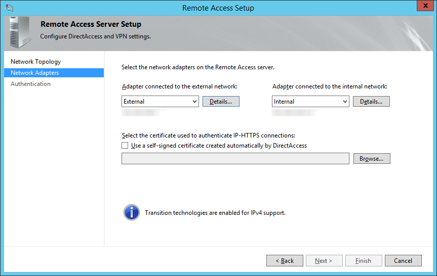 Remote Access Server Setup - Network Adapters - External Internal