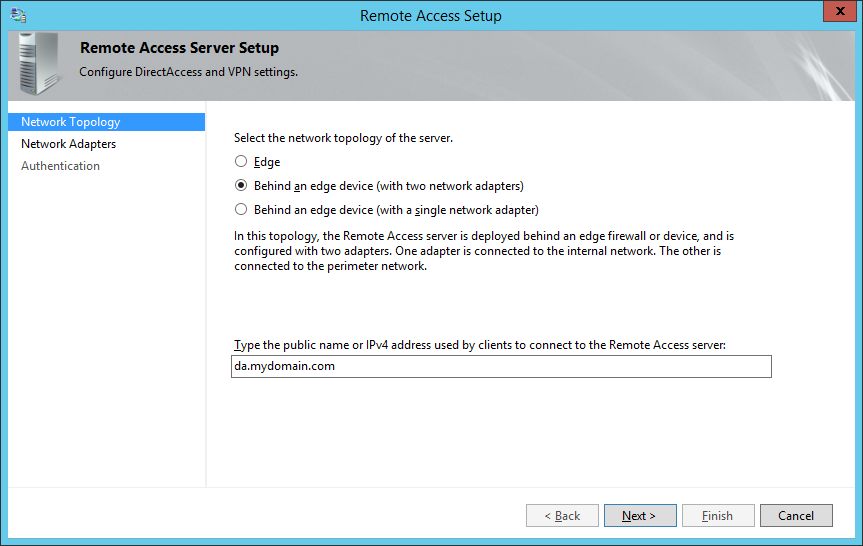 Remote Access Server Setup - Network Topology