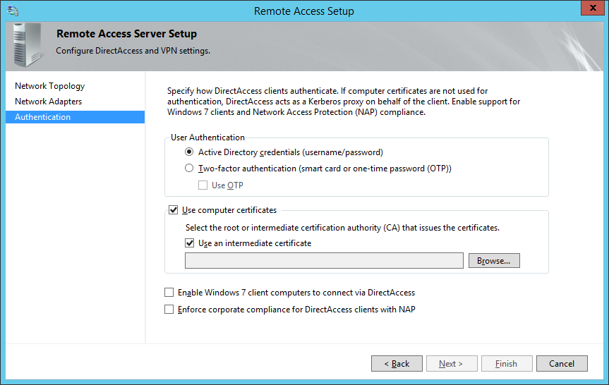 Remote Access Setup - Authentication - Active Directory Credentials