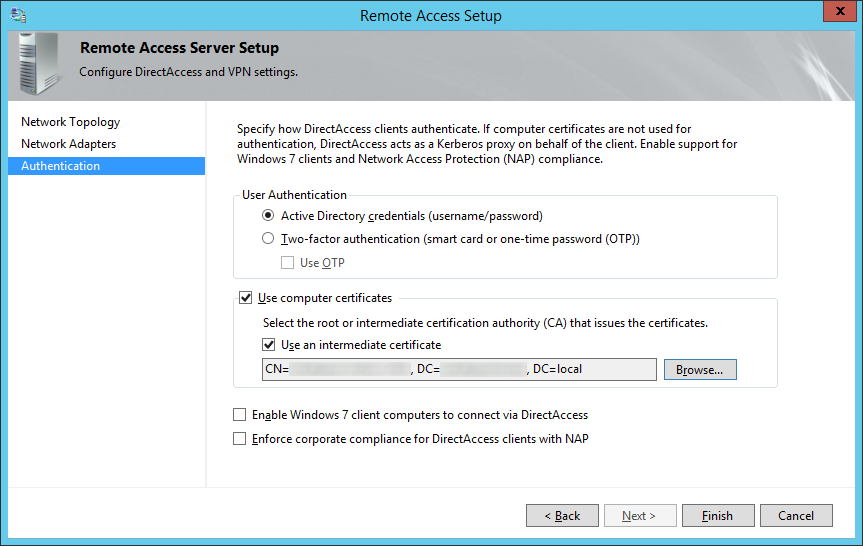 Remote Access Setup - Authentication - Finish