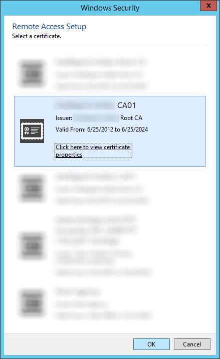 Remote Access Setup - Authentication - Select a certificate