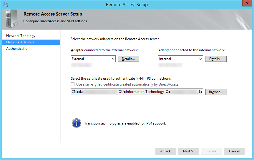 Remote Access Setup - Network Adapters - External Internal Certificate