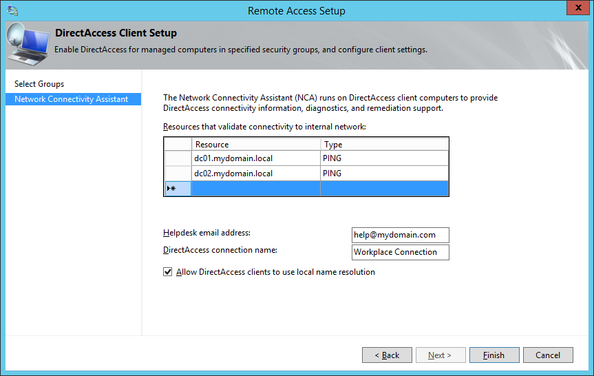 Remote Access Setup - Network Connectivity Assistant - Helpdesk email address - DirectAccess connection name