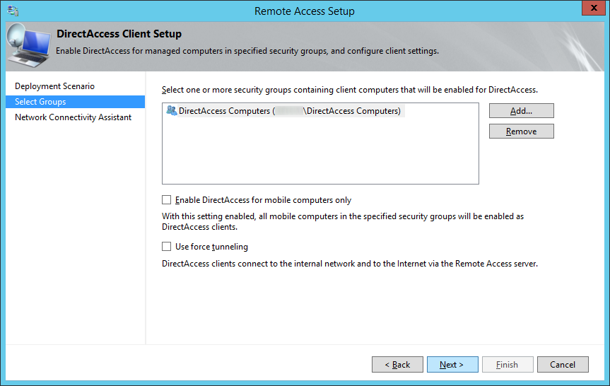 Remote Access Setup - Select Groups - Next