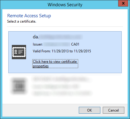 Remote Access Setup - Select a certificate