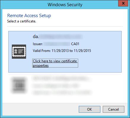Remote Access Setup - Select a certificate