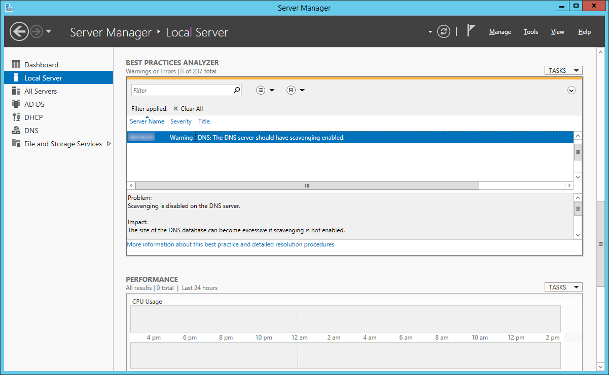 Server 2012 - BPA - The DNS server should have scavenging enabled