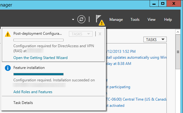 Server Manager - Post-Deployment Configuration - DirectAccess