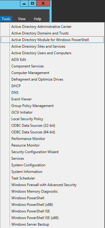 Server Manager - Tools - Active Directory Module for Windows PowerShell
