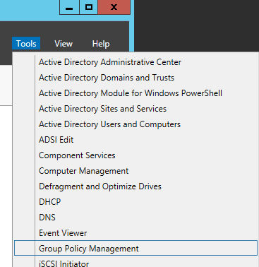 Server Manager - Tools - Group Policy Management