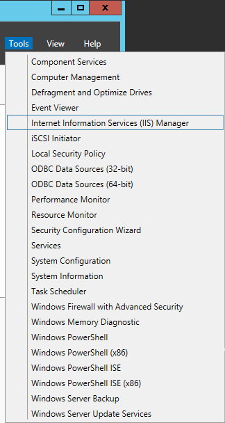 Server Manager - Tools - Internet Information Services IIS Manager