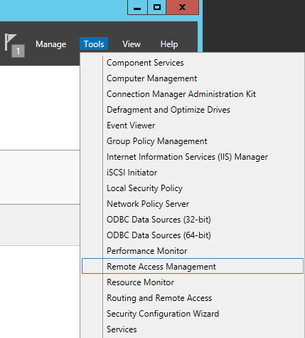 Server Manager - Tools - Remote Access Management