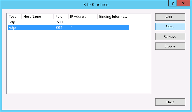 Site Bindings - Port 8531