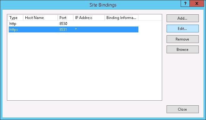 Site Bindings - Port 8531