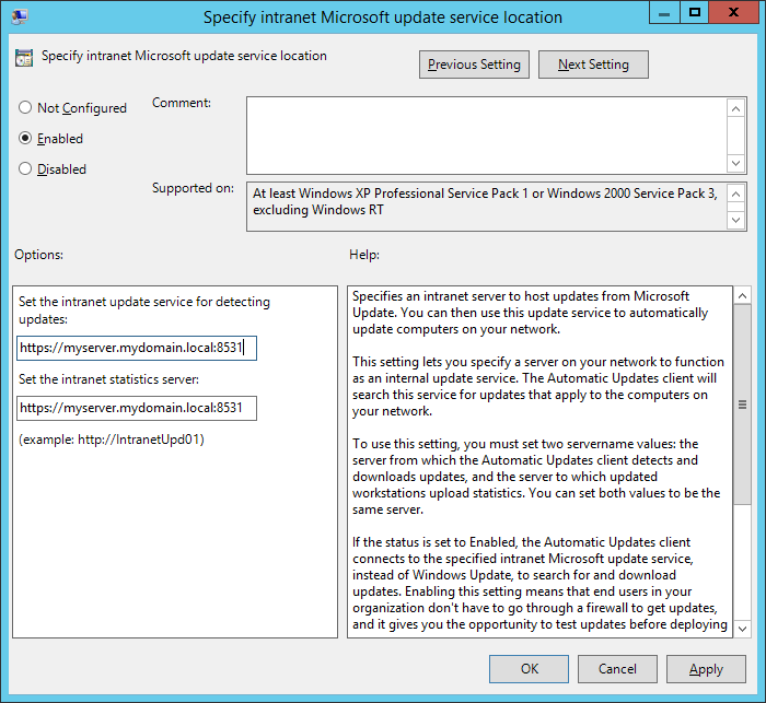 Specify intranet Microsoft update service location - options