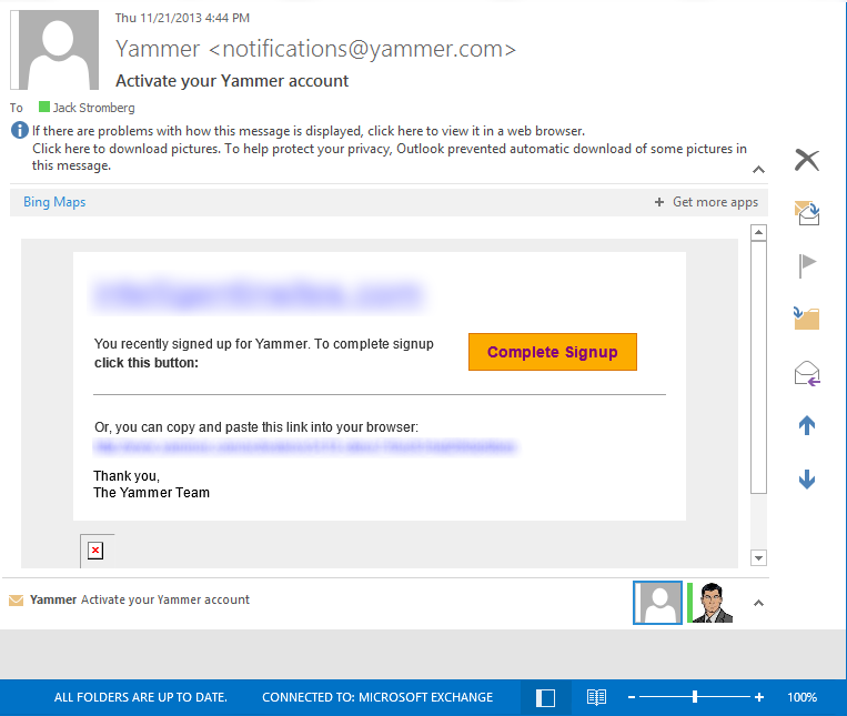 Yammer Activation Email