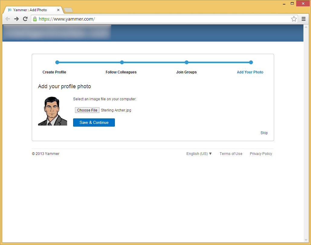 Yammer - Add your profile photo