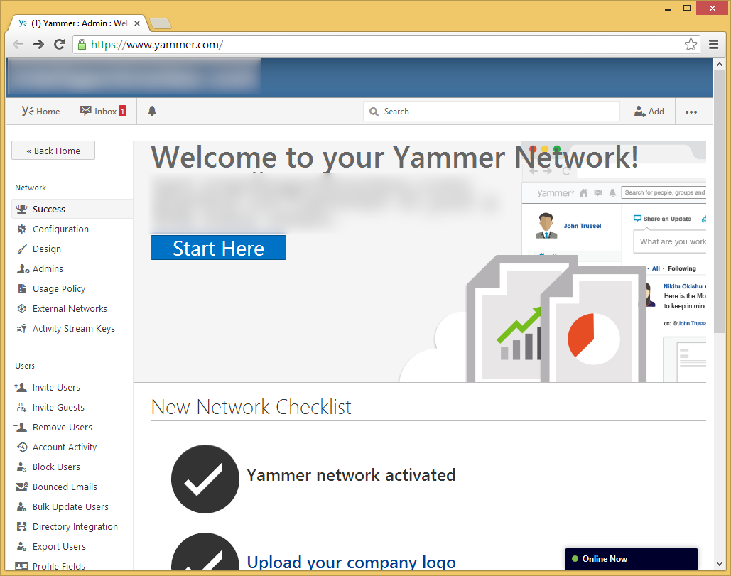 Yammer - Network Admin - Dashboard