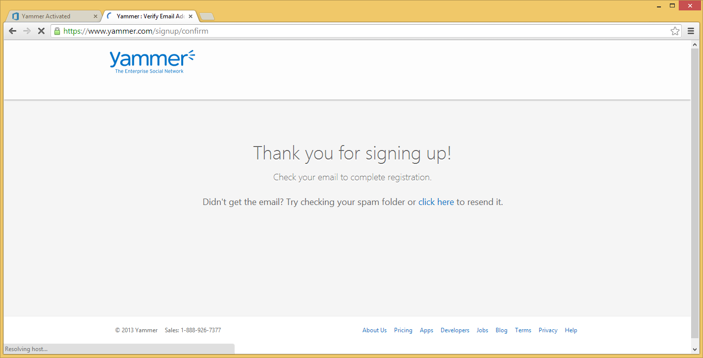 Yammer - Thank you for signing up
