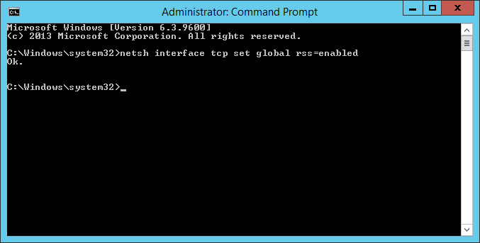 command prompt - netsh interface tcp set global rss enabled