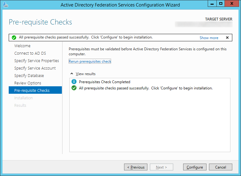 Active Directory Federation Services Configuration Wizard - Pre-requisite Checks