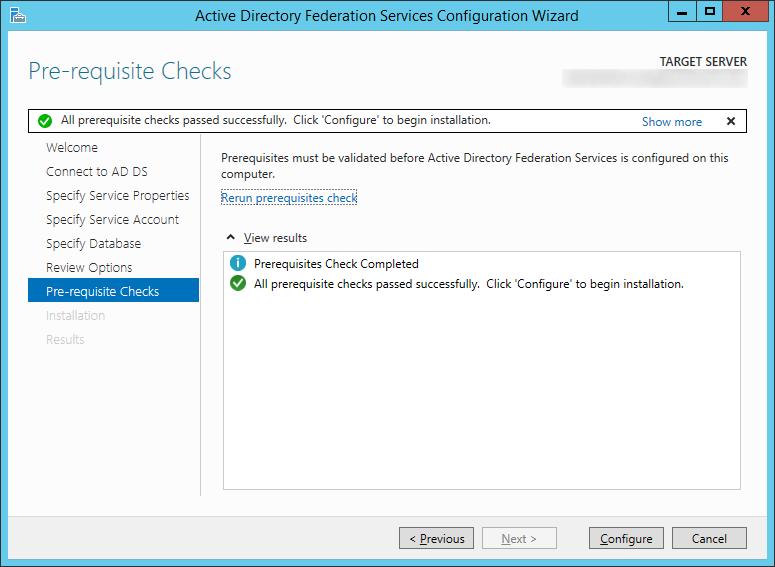 Active Directory Federation Services Configuration Wizard - Pre-requisite Checks