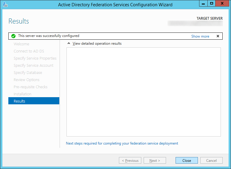 Active Directory Federation Services Configuration Wizard - Results