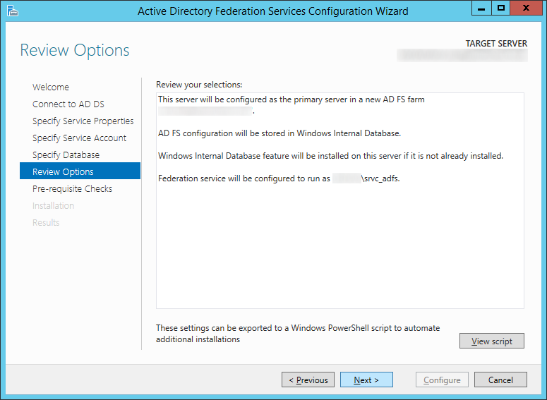 Active Directory Federation Services Configuration Wizard - Review Options