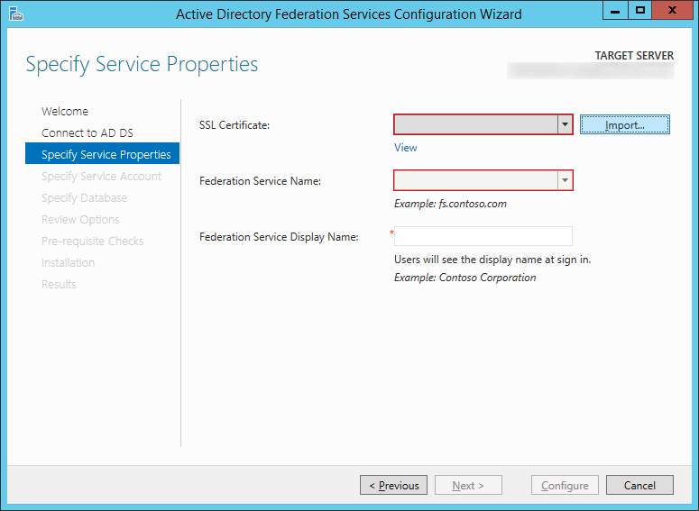 Active Directory Federation Services Configuration Wizard - Specify Service Properties - Import