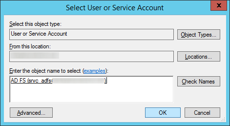 Active Directory Federation Services Configuration Wizard - Specify Service Properties - Select User or Service Account